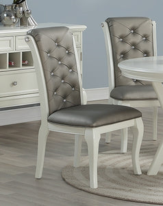 fcb8cb6f9309 Poundex F1762 White Finish Rubberwood Set of 2 Dining Chair – FlatFair