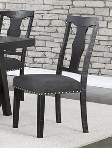 Poundex F1772 Dark Grey Finish 2 Piece Dining Chair