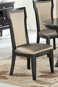 Poundex F1778 Black Finish Dining Chair Set of 2
