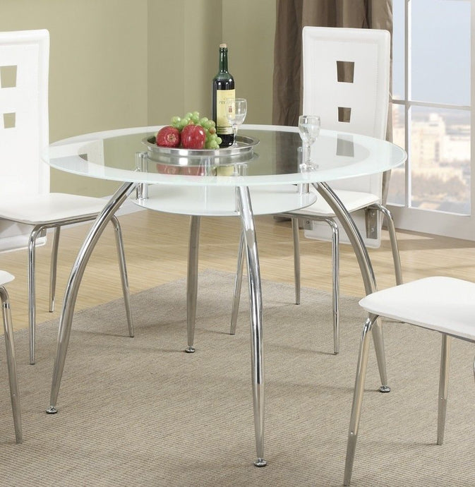 Poundex F2210 White Glass Finish Round Dining Table