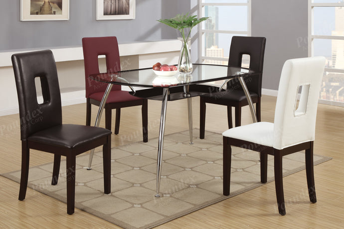 Poundex F2225 Black Glass Finish Round Dining Table