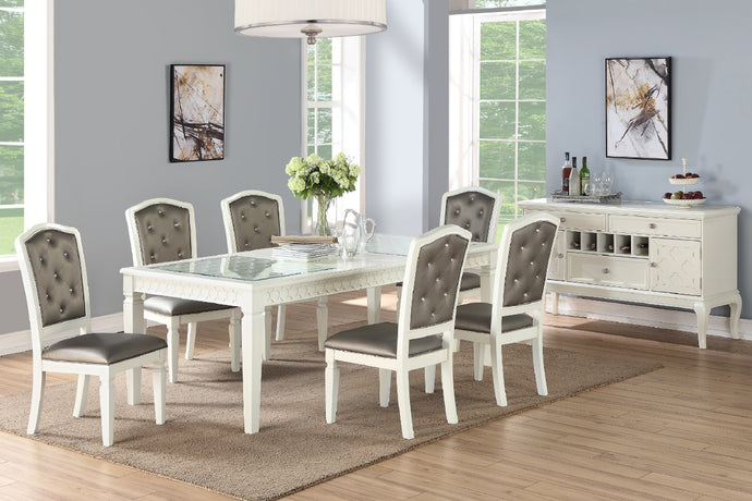 Poundex F2474 White Glass Top Finish Dining Table With Leaf