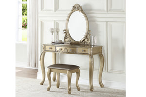 Poundex F4166 Champagne Wood And Fabric Finish 3 Piece Vanity Set