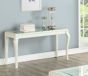 Poundex F6366 Ivory White Glass Finish Console Table