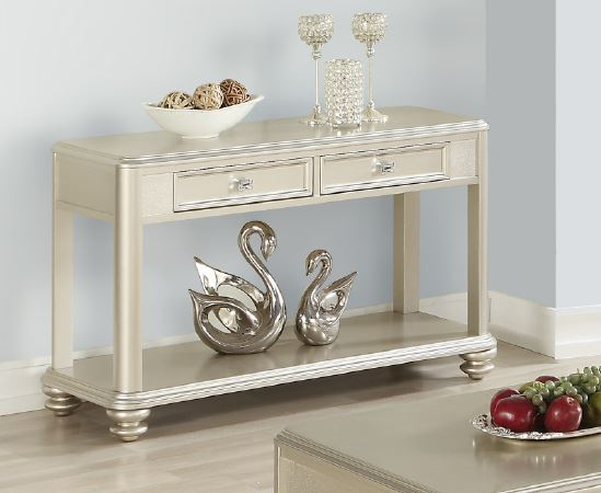 Poundex F6371 Champagne Wood Finish Console Table