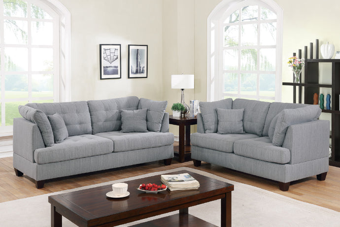 Poundex F6401 Grey Fabric Finish 2 Piece Sofa Set