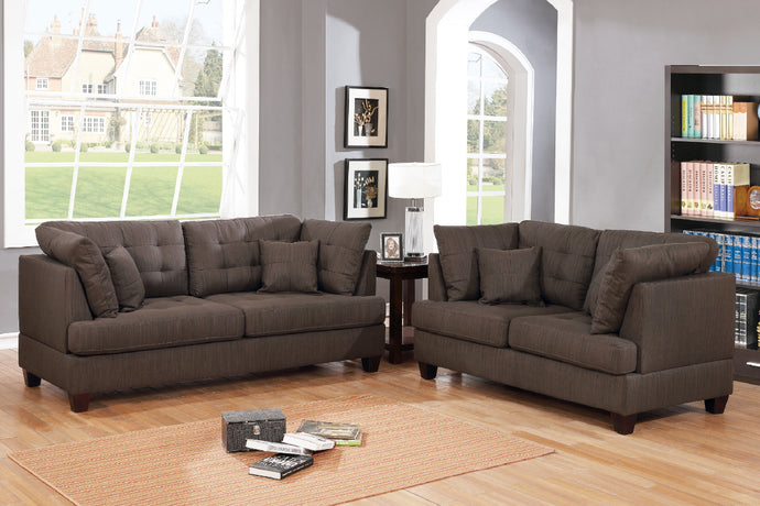 Poundex F6402 Chocolate Fabric Finish 2 Piece Sofa Set