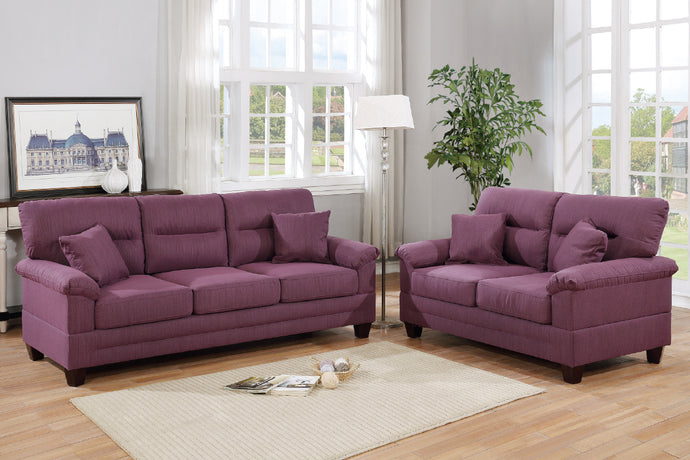 Poundex F6407 Purple Fabric Finish 2 Piece Sofa Set