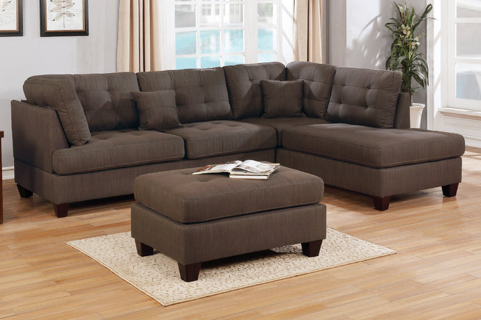 Poundex F6582 Chocolate Fabric Finish 3 Piece Sectional Sofa