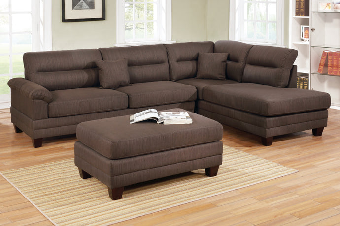 Poundex F6586 Chocolate Fabric Finish 3 Piece Sectional Sofa