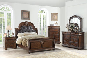 Poundex 4 Piece Faux Leather Dark Brown California King Bedroom Set