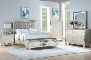 Poundex 4 Piece Silver Luxurious Faux Leather Cal King Bedroom Set
