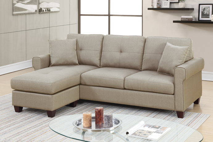 Poundex F6572 2 Piece Beige Sectional Sofa