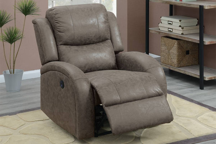 Poundex F86021 Coffee Faux Leather Power Recliner