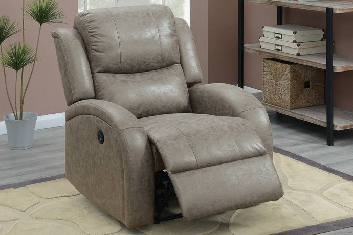 Poundex F86022 Stone Faux Leather Power Recliner