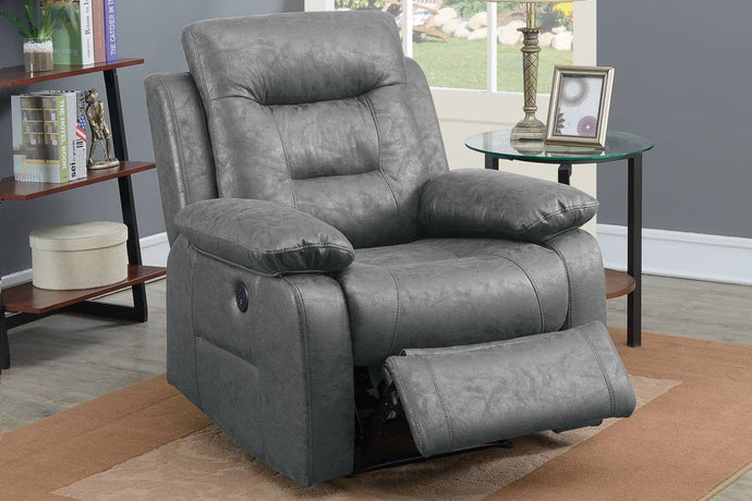 Poundex F86026 Grey Faux Leather Power Recliner