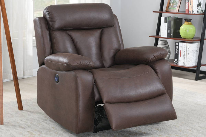 Poundex F86034 Dark Brown Leatherette Power Recliner