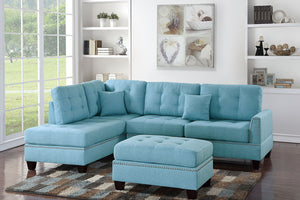 Poundex Blue Finish Polyfiber 3 Piece Sectional Sofa