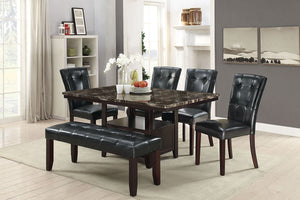 Poundex Brown Faux Marble 6 Piece Dining Table Set