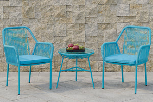 Poundex P50411 3 Piece Blue Finish Outdoor Set