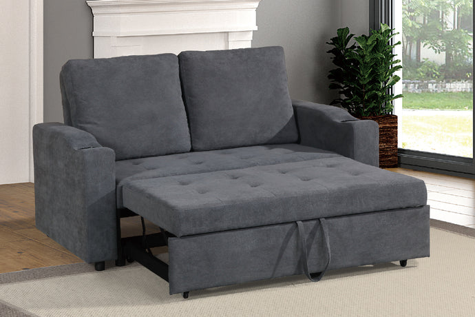 Poundex Charcoal Finish Polyfiber Fabric Convertible Sofa