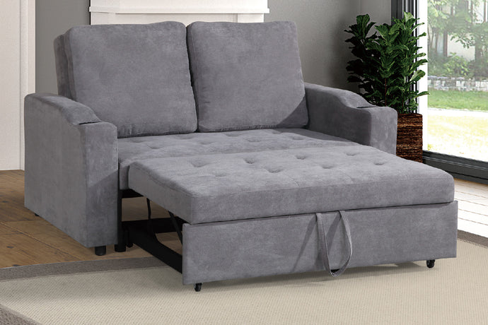Poundex Grey Finish Polyfiber Fabric Convertible Sofa