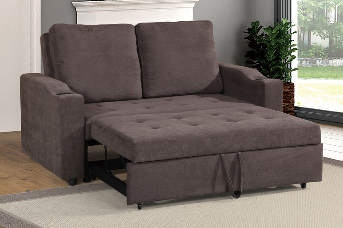 Poundex Cappuccino Finish Polyfiber Fabric Convertible Sofa