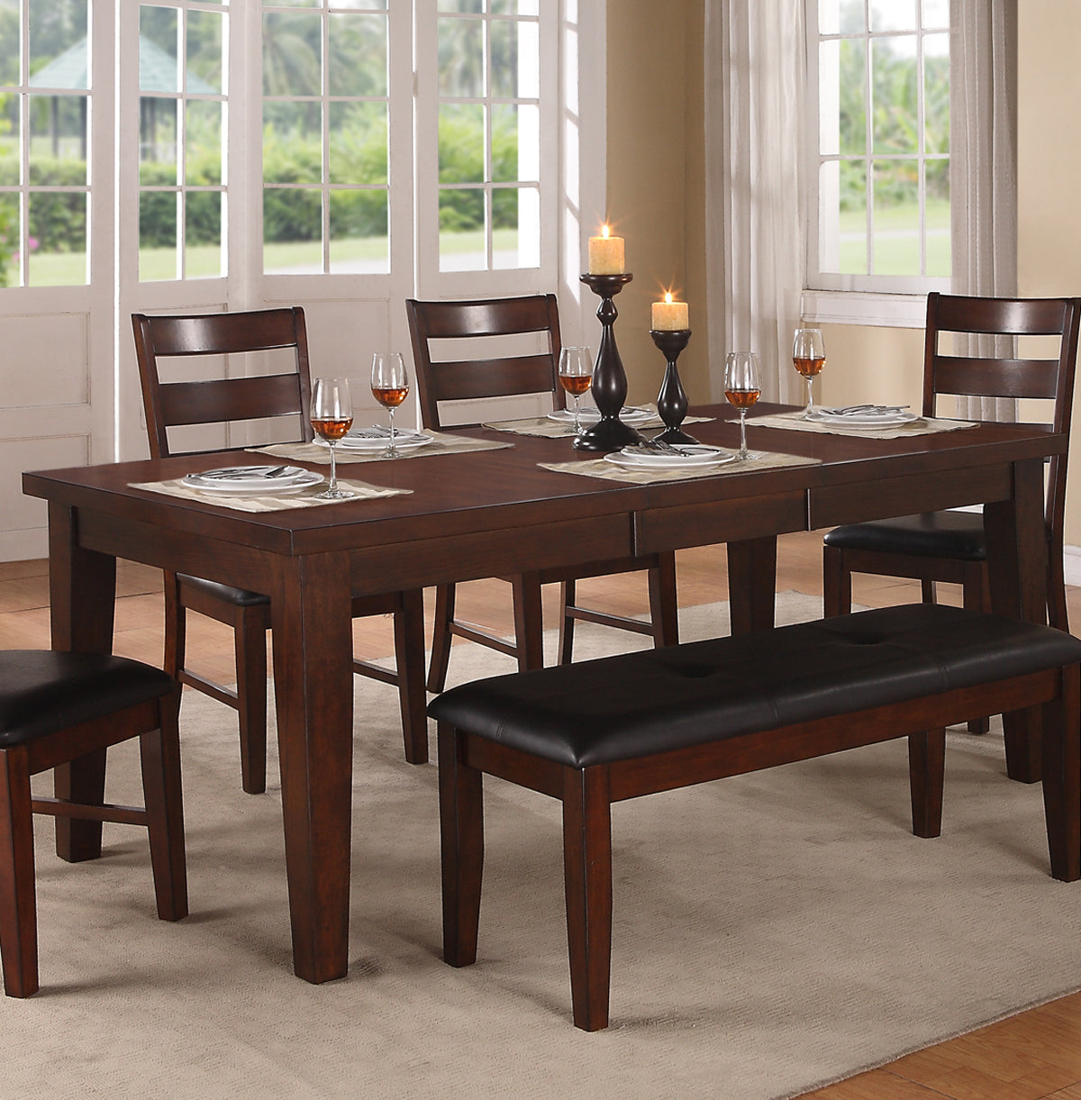 Poundex Antique Walnut Wood Finish Dining Table With Extension Leaf