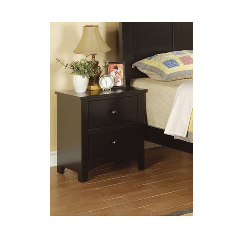 Poundex Black Wood Finish 2 Drawer Nightstand