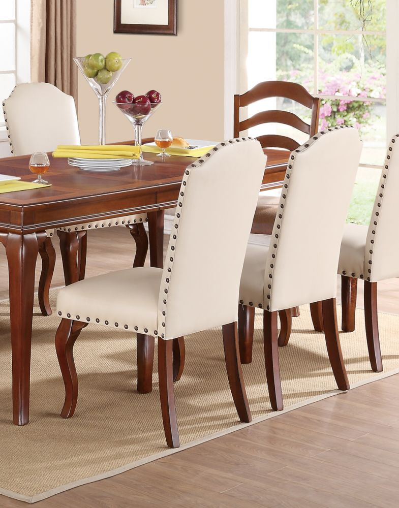 Poundex Cream Faux Leather Dining Side Chair Set Of 2