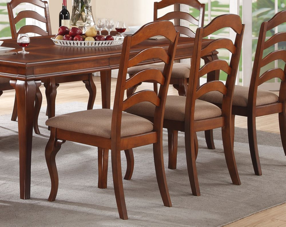 Poundex Oak Faux Leather And Wood Finish 2 Piece Dining Chair