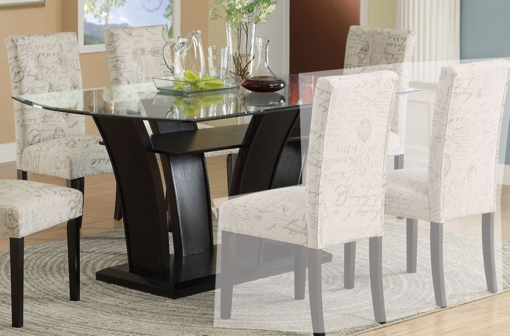 Poundex Rectangular Glass Top Dining Table