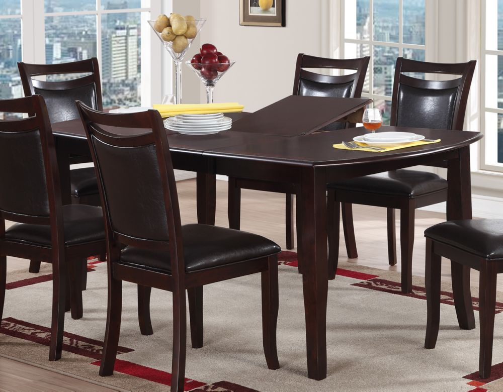 Poundex Dark Brown Butterfly Leaf Dining Table