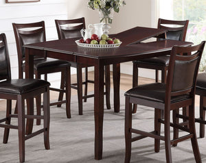 Poundex Dark Brown Butterfly Leaf Counter Height Dining Table