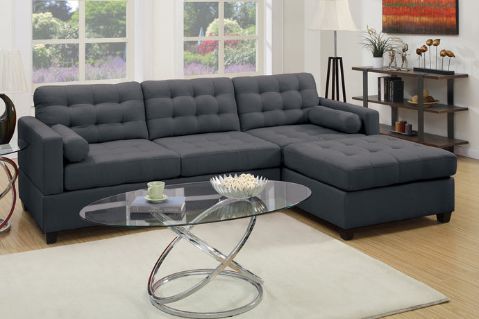 Poundex Slate Black Polyfiber Reversible Chaise Sectional