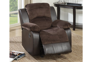 Poundex Chocolate Suede And Faux Leather Finish Recliner Chair
