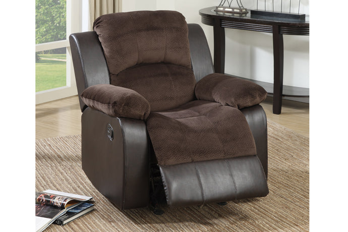 Poundex Two Tone Chocolate Suede Faux Leather Rocker Recliner