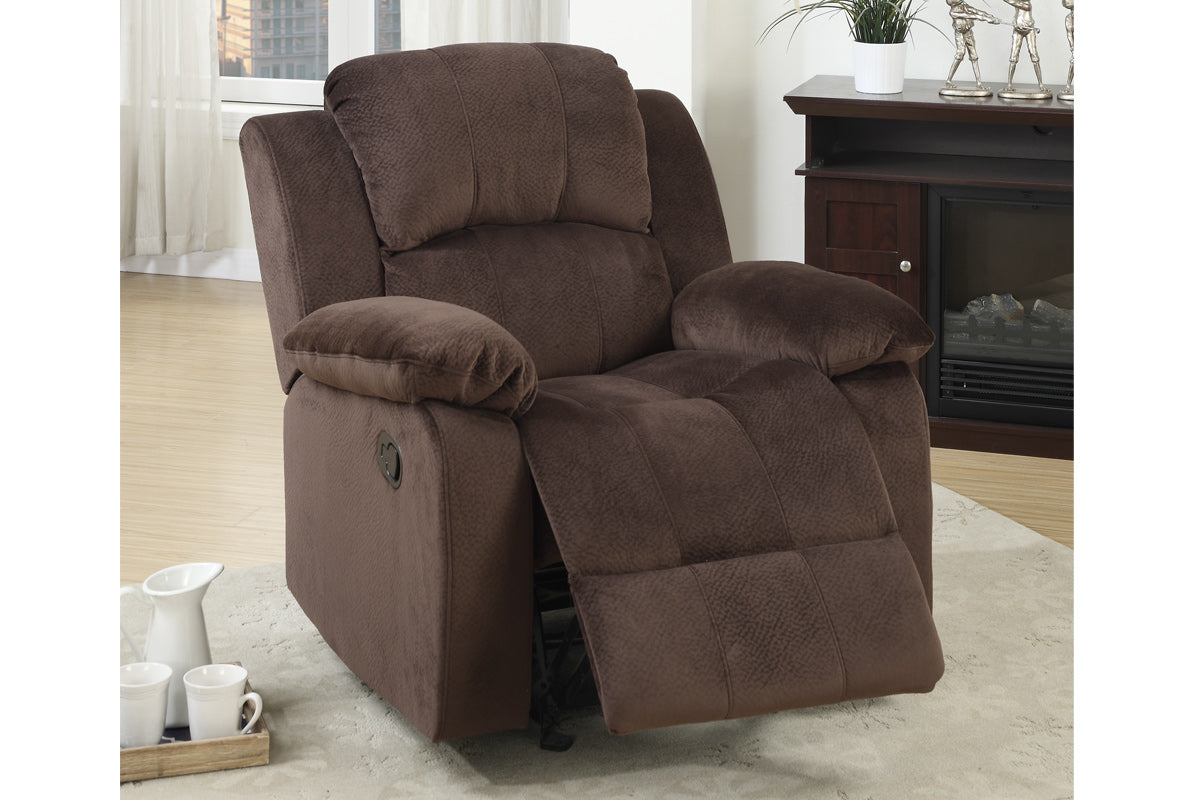 Poundex Chocolate Suede Finish Rocker Recliner Chair
