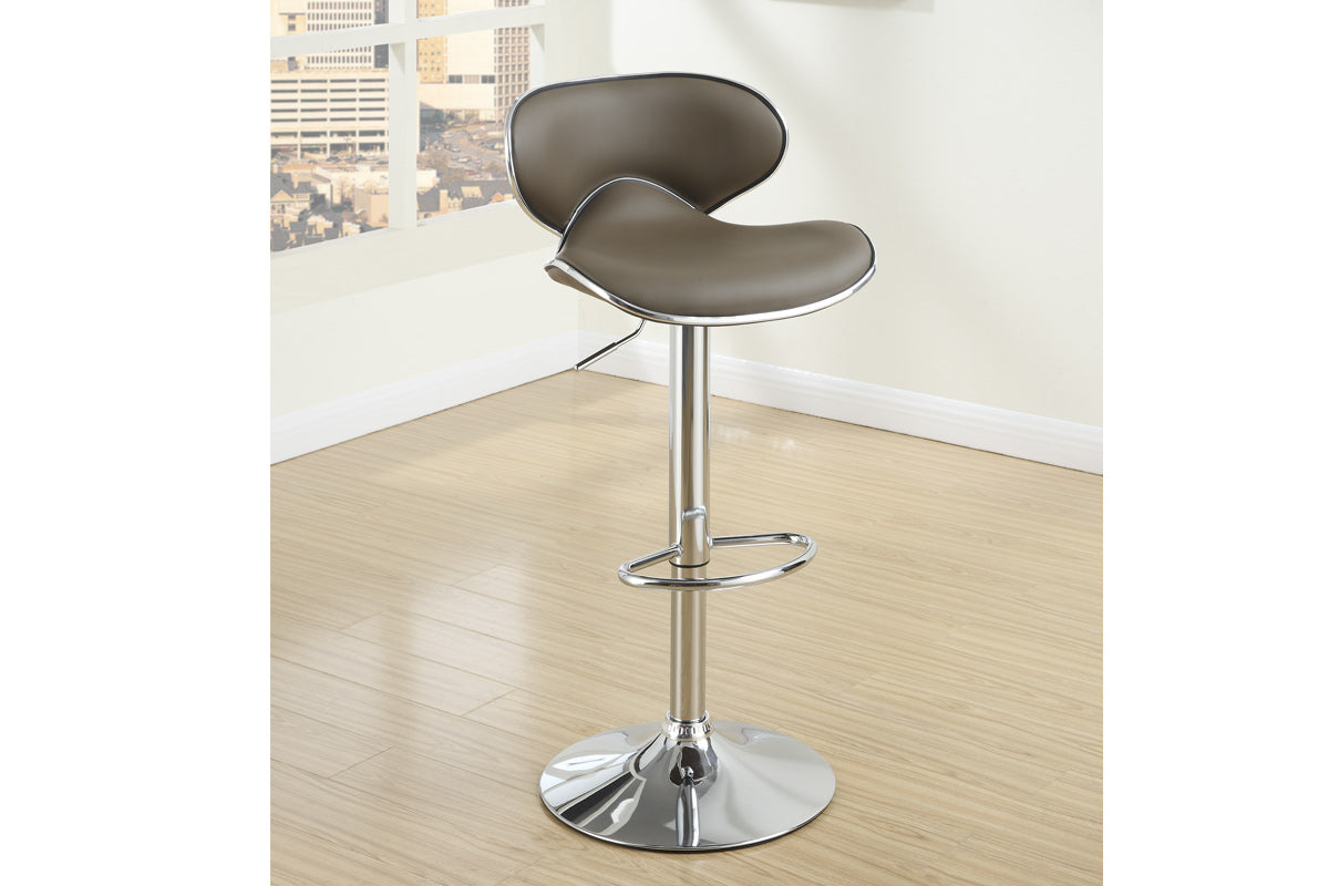 Poundex Espresso Leather Pieces Bar Stool