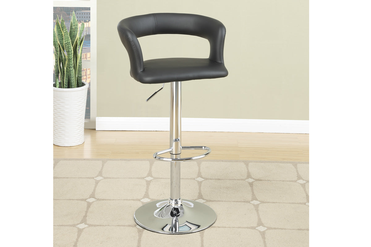 Poundex Black Leather And Chrome Finish 2 Piece Bar Stool