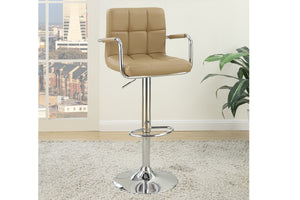 Poundex Brown Faux Leather 2 Pieces Bar Stool