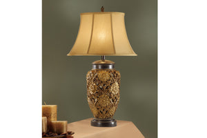 Poundex Gold Poly Table Lamp Set Of 2