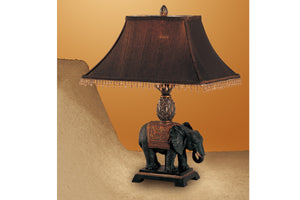 Poundex Brown Polyresin Table Lamp Set Of 2