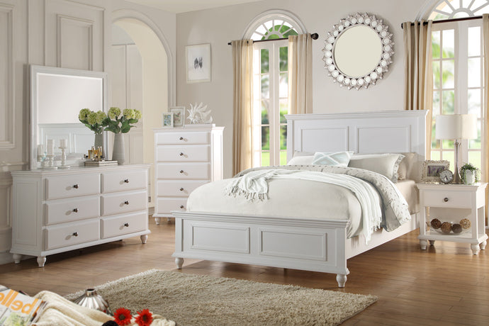 Poundex White Wood Finish 4 Piece Queen Bedroom Set
