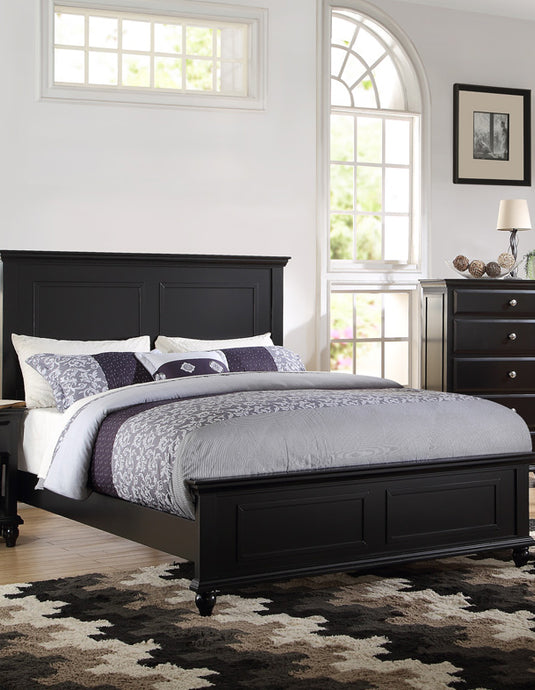 Poundex Black Wood Finish Platform Queen Bed