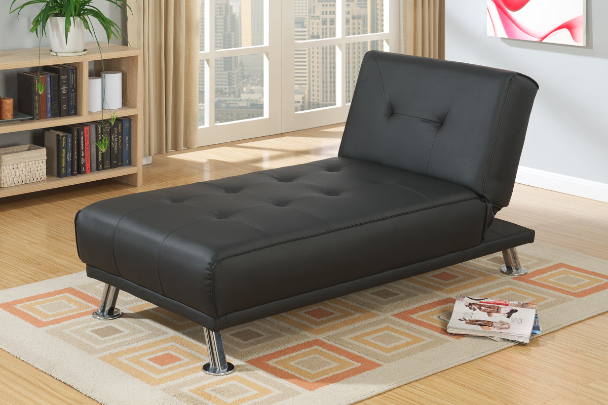 Poundex Black Faux Leather Adjustable Chaise