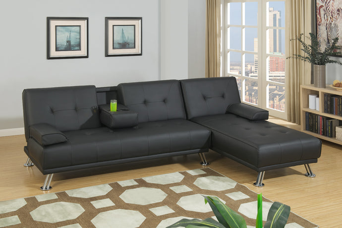 Poundex Black Faux Leather Adjustable Sectional Sofa Bed