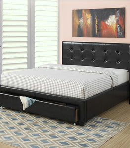 Poundex Black Faux Leather And Wood Finish Full Platform Bed