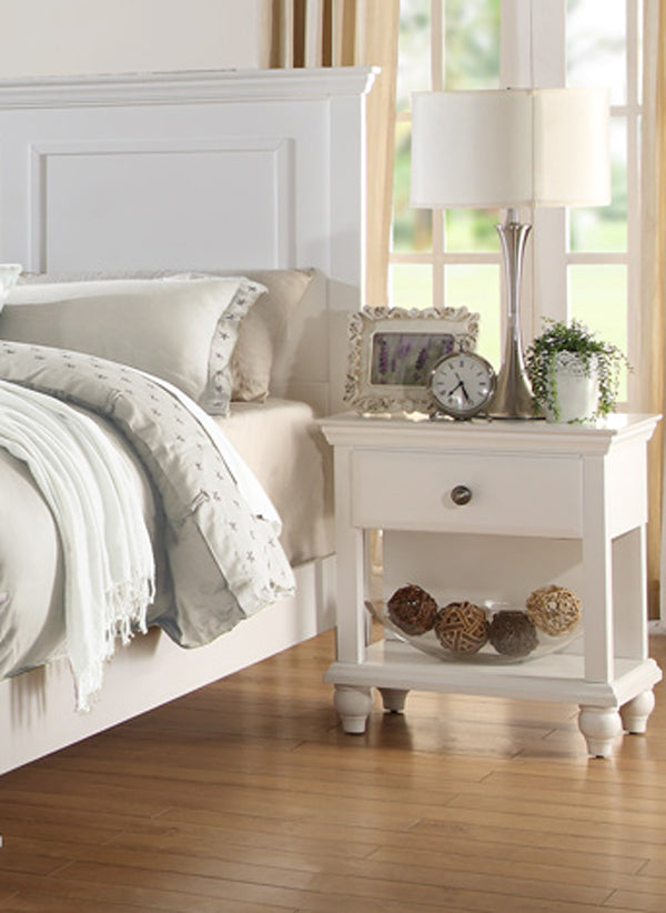Poundex White Wood Finish 1 Drawer Nightstand