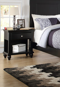Poundex Black Wood Finish 1 Drawer Nightstand